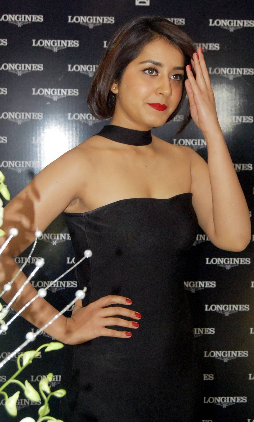 Indian Glamours Girl Rashi Khanna Stills At Longines Watches Launch In Mini Blue Gown