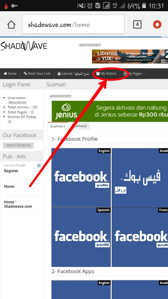 Cara Hack Akun FB, Instagram, dll lewat Phising Login di