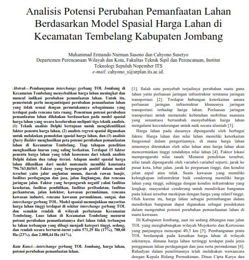 Analisis Potensi Perubahan Pemanfaatan Lahan Berdasarkan Model Spasial Harga Lahan [Paper]