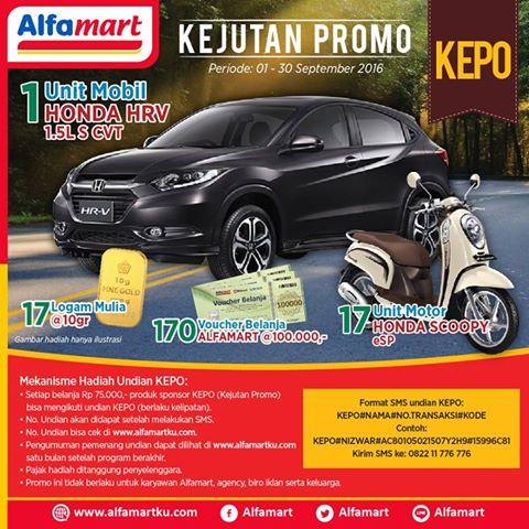 Undian Kejutan Promo (KEPO) Alfamart Berhadiah Mobil Honda HRV