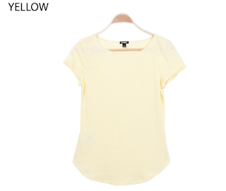 Ann Taylor Lined Round Neck Tee yellow