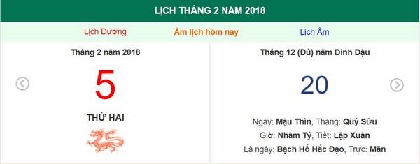 Xem ngày tốt xấu, giờ hoàng đạo - Xem lịch Thứ Hai ngày 5 tháng 2 năm 2018