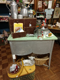 wash stand, vintage, cubby, booth display