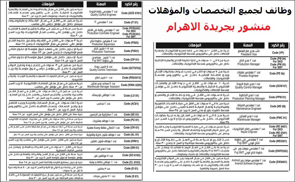 منشور بجريدة الاهرام اوظائف لخريجى الكليات والدبلومات والسائقين والعمال - التقديم الكترونى