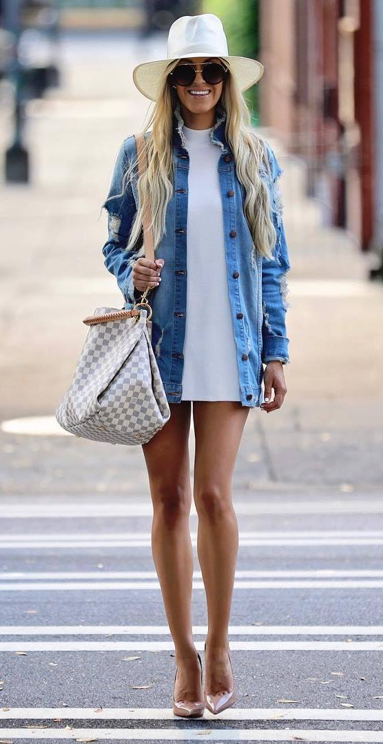 how to style a white hat : denim jacket + bag + white dress + heels