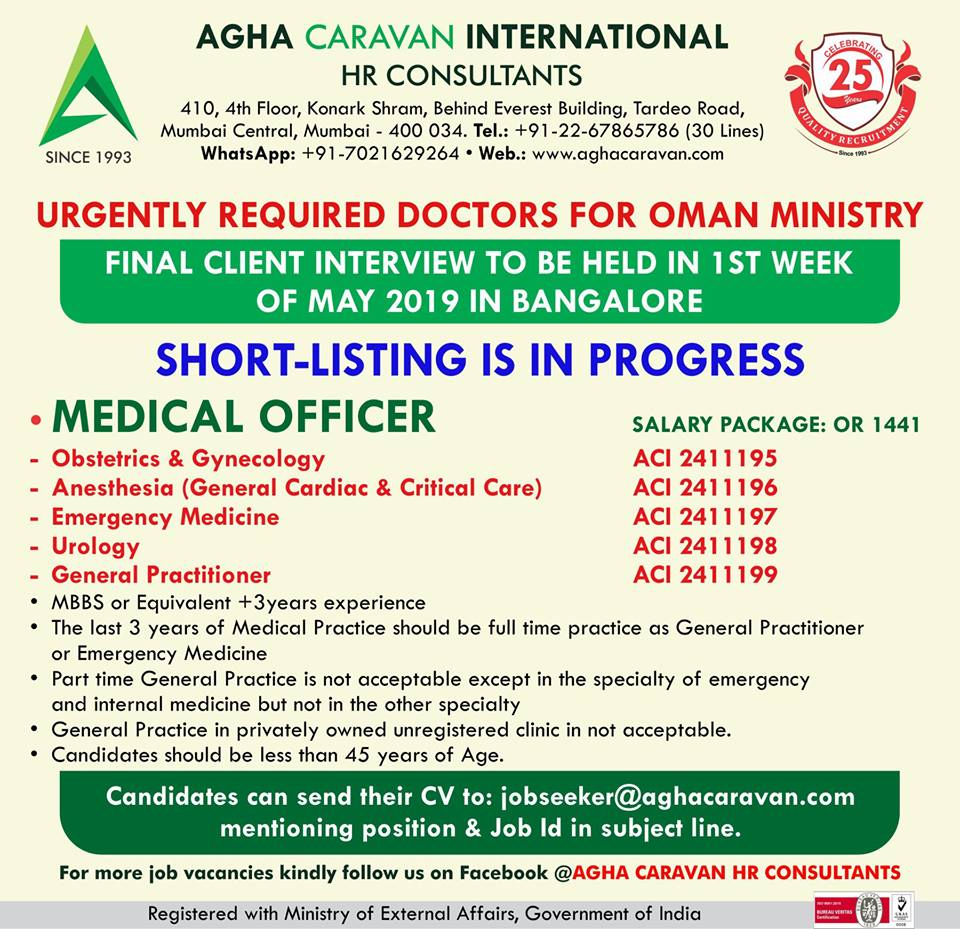 Urgently Required Doctors for Oman Ministry