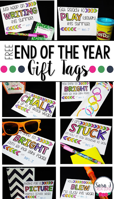 Free end of the year gift ideas and tags for your students