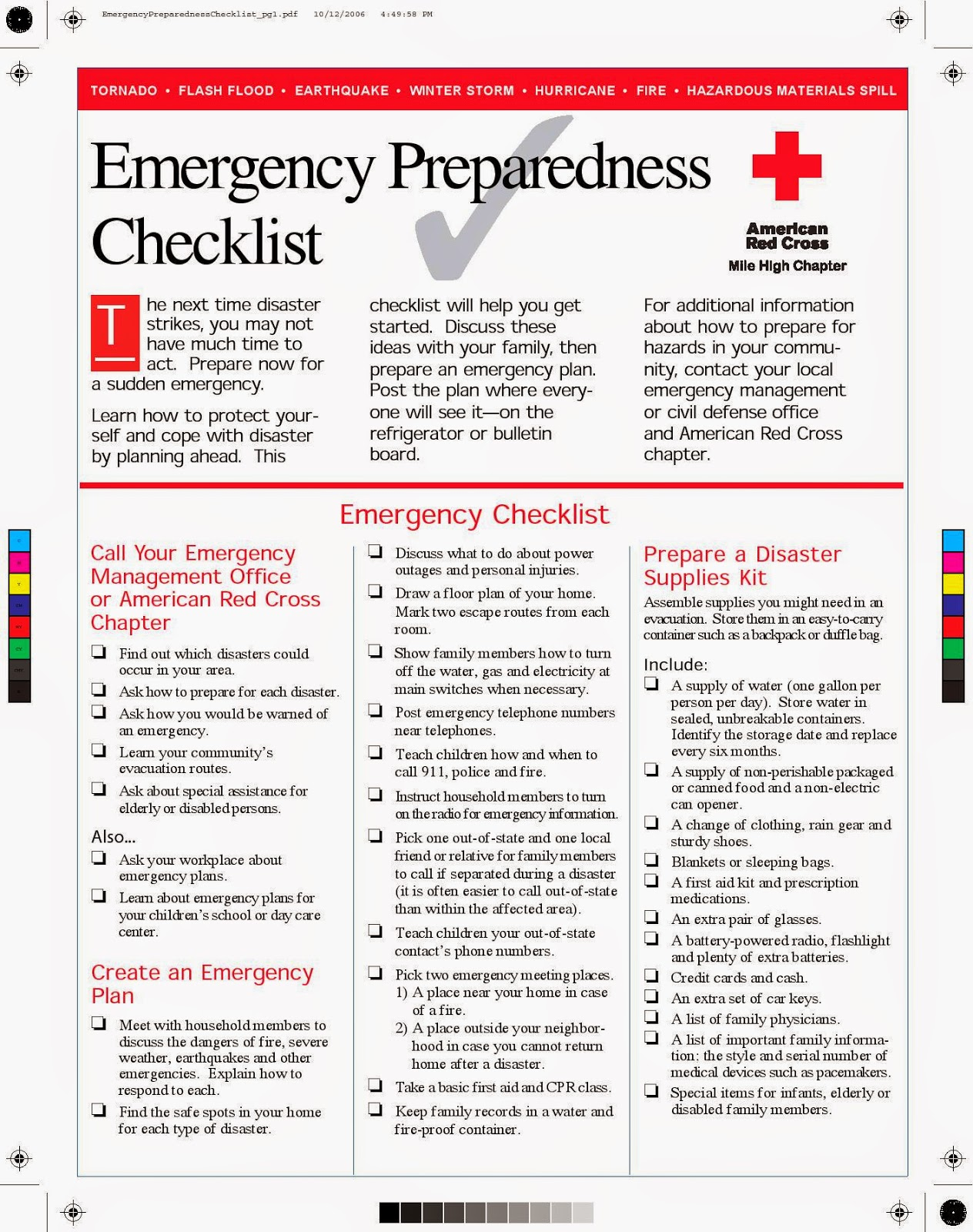 American Red Cross Worksheet