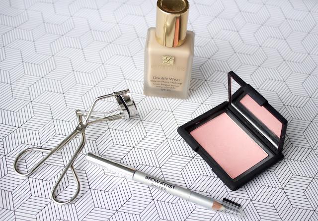 blusher, foundation, eyeliner, eyelash curlers