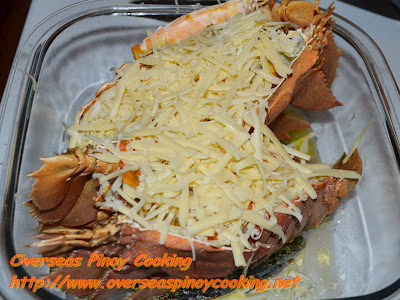 Baked Slipper Lobster with Cheese - Cheese Topping