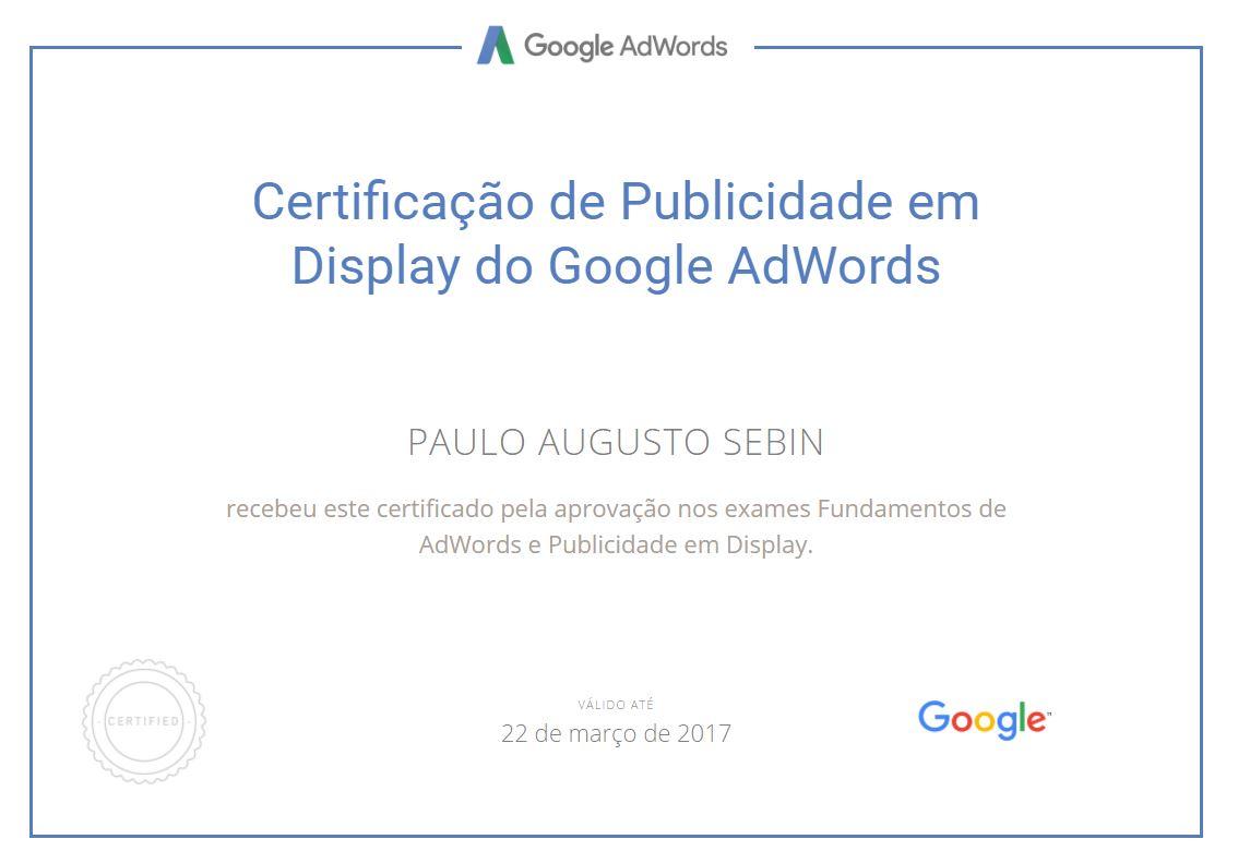 Imagem do certificado da rede de Display do programa Partners Google