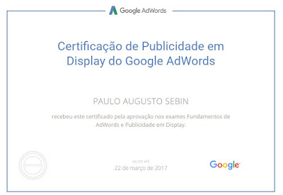 Imagem do certificado da rede de Display do programa Partners Google