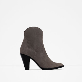 Zara Leather Cowboy Heeled Ankle Boot