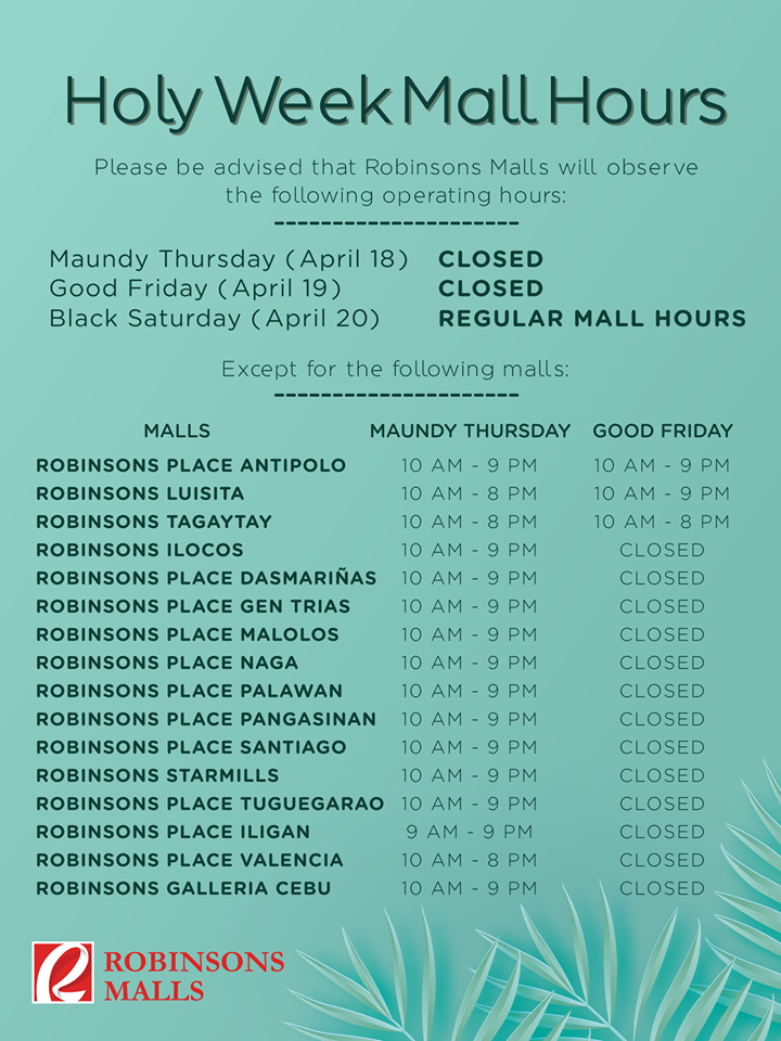 ROBINSONS MALL SCHEDULE Holy week 2019