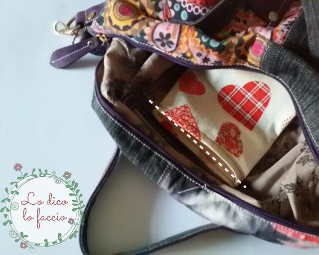 cucire all'interno della borsa