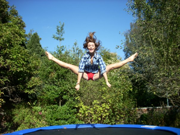 Topless girls on trampoline