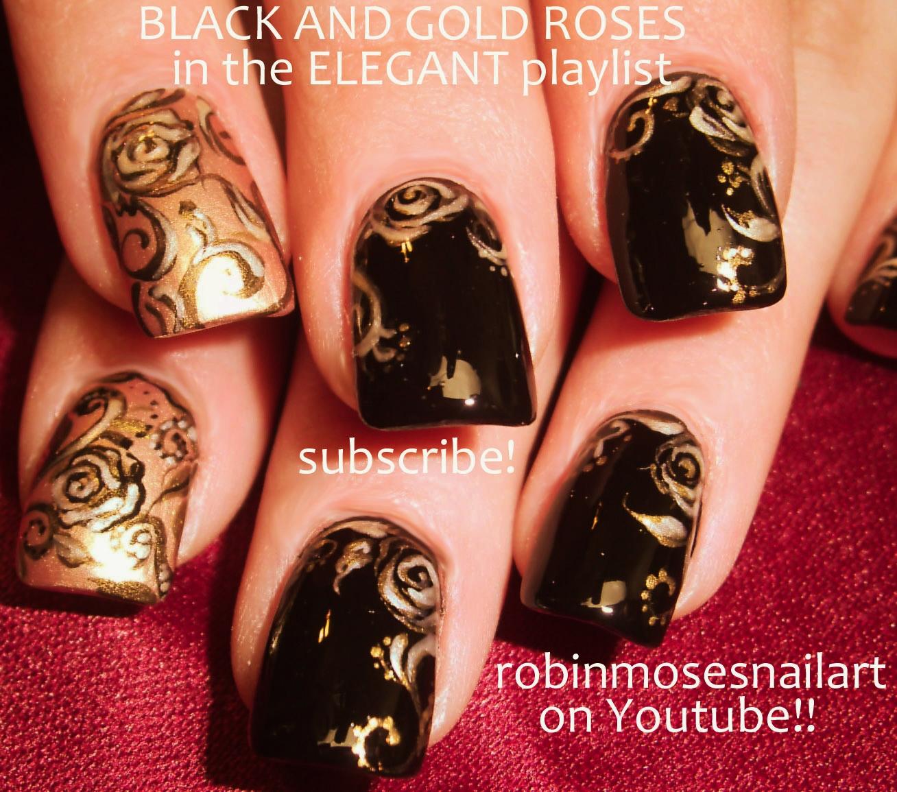 Nail Art By Robin Moses Black And Gold Rose Nail Art Black And