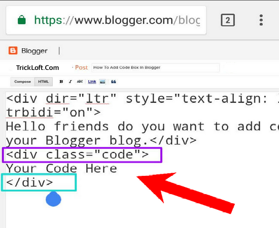 add code box into blogger post