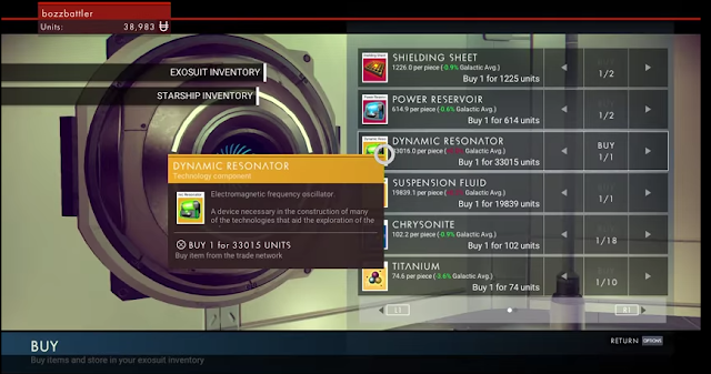 No Man's Sky buy store inventory resources Dynamic Resonator