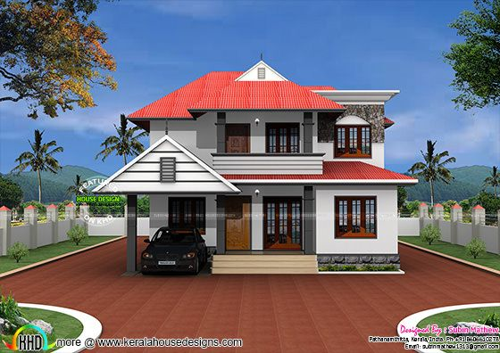 Typical kerala home in 2500 sq ft kerala home design and for Home design hd pictures