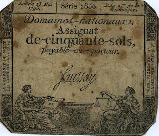Франция. Ассигнат 50 солей 1793 года.
