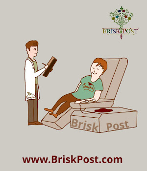 Cartoon illustration of a doctor reporting about a boy donating blood laying on a resting chair on National Blood Donation Day
