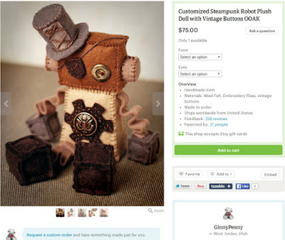 Steampunk Plush Robot