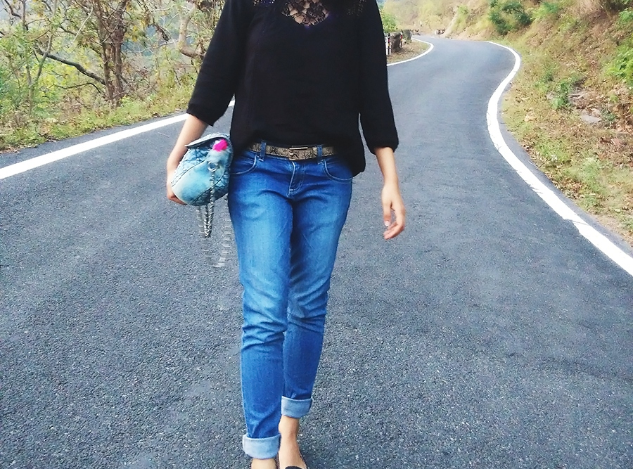 lace black top, blue denim,denim bag