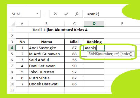 gambar cara membuat ranking di excel 2013