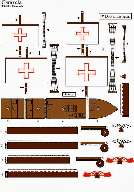 Molde de barco a caravela portuguesa
