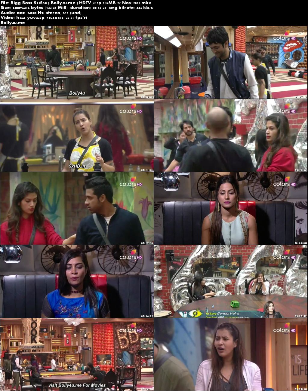 Bigg Boss S11S58 HDTV 480p 140MB 27 Nov 2017 Download