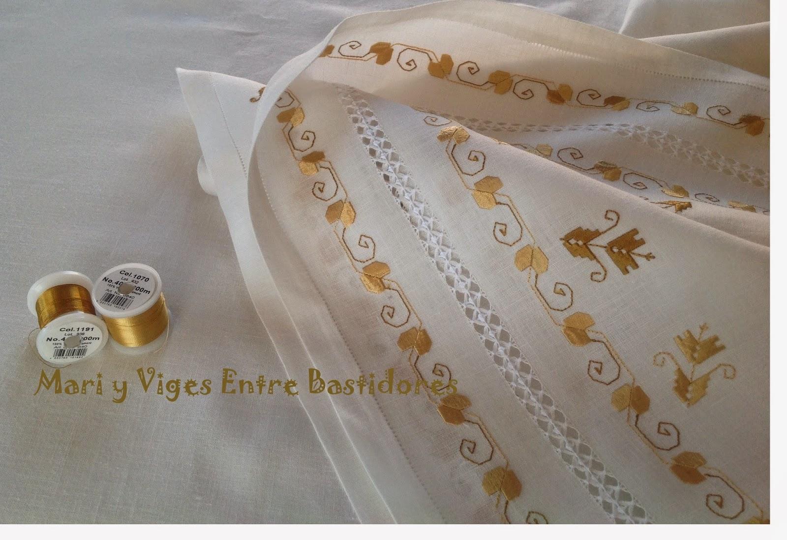 Mari y viges entre bastidores mantel para altar de lagartera - Manteles bordados ...