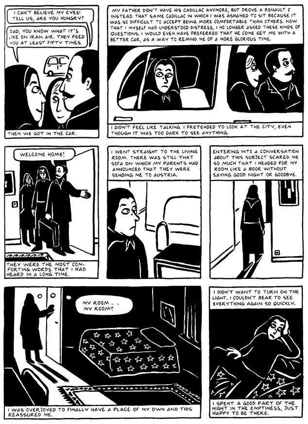Read Chapter 10 - The Return, page 93, from Marjane Satrapi's Persepolis 2 - The Story of a Return