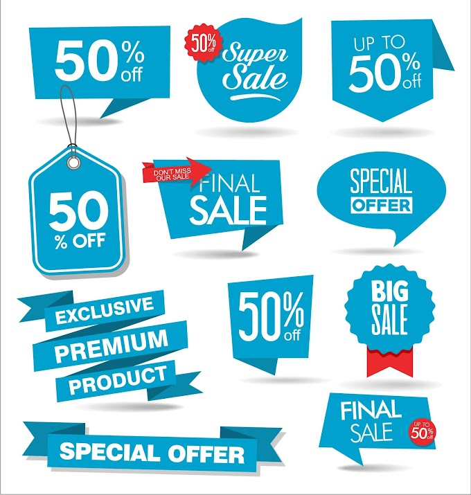 Blue promotional label free vector