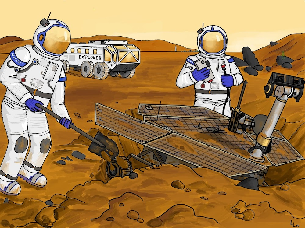 SpaceX explorers digging out NASA Opportunity rover on Mars by Leonhard Loacker
