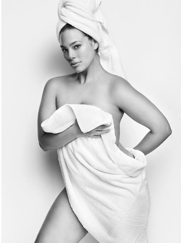 Ashley Graham poses for Mario Testino's Towel Series