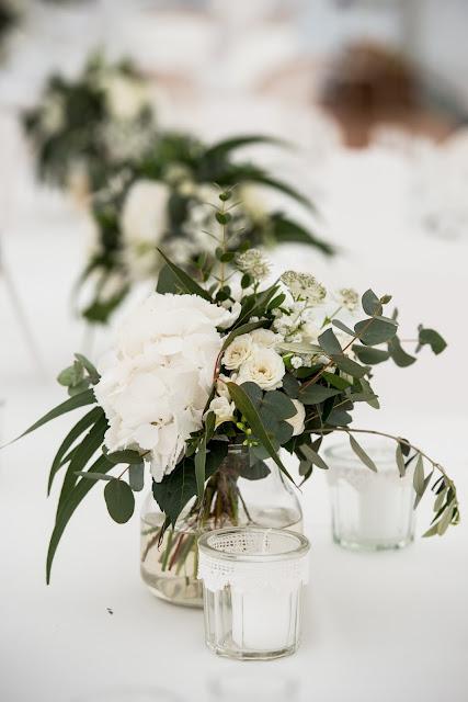 Fleuriste mariage Lyon, Rhône, Centre de table blanc, mariage chic