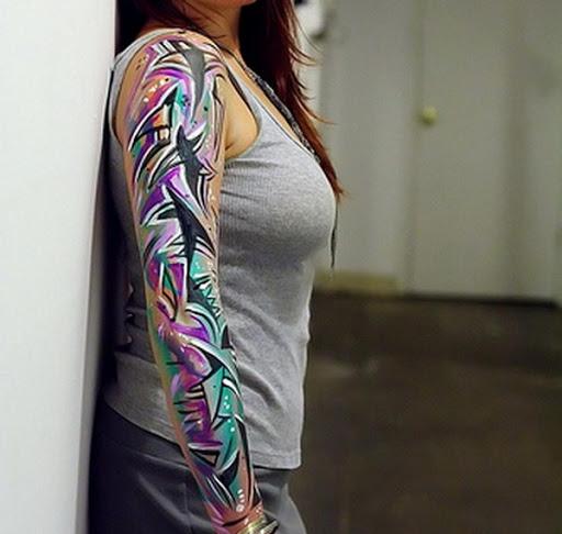Colorido Geometrico da Mulher Manga Tatuagem