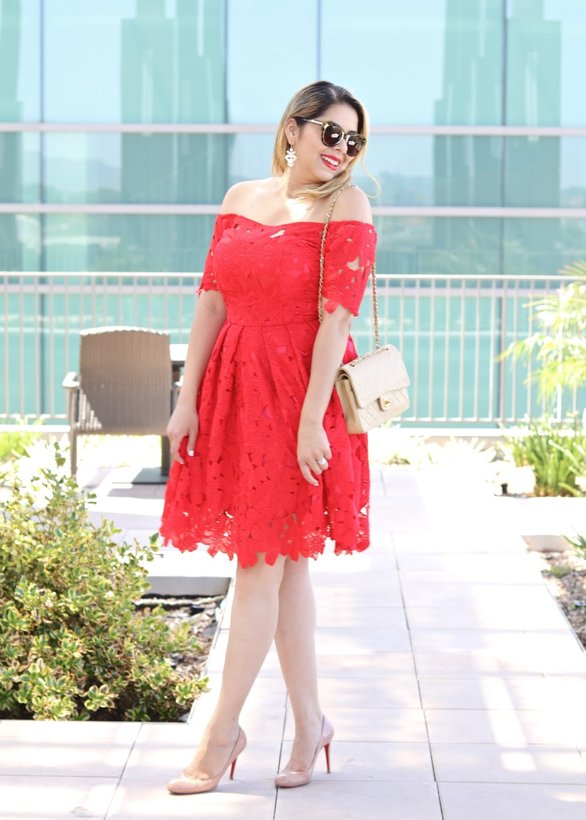 San Diego Fashion Blogger, Chicwish red dress, Chanel nude flap bag, Christian Louboutin nude heels, Karen walker tortoise shell sunglasses