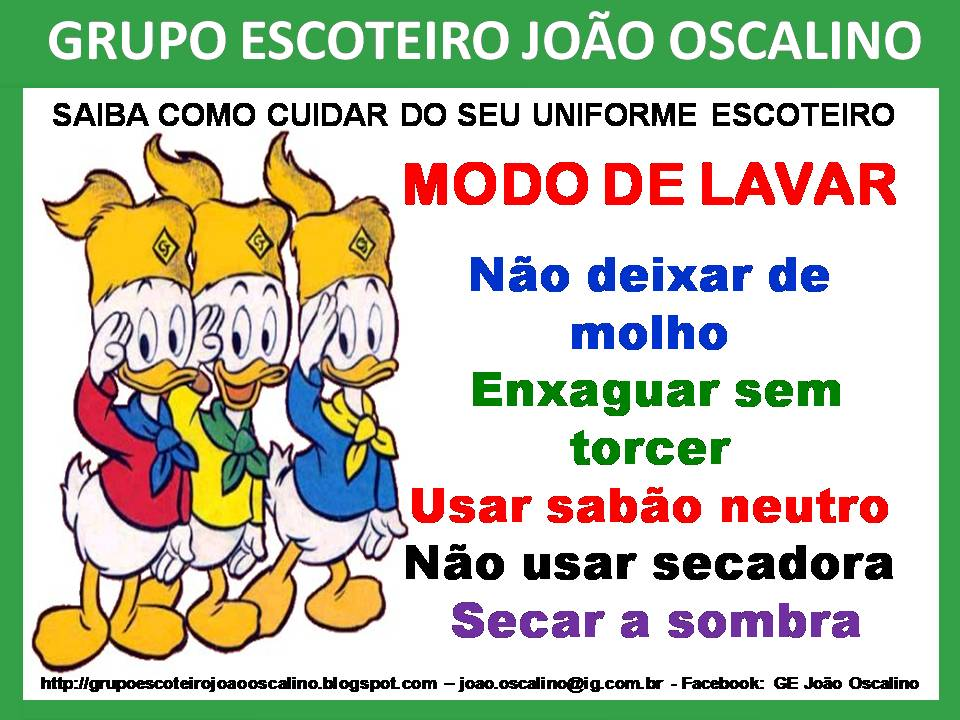 GRUPO ESCOTEIRO JOÃO OSCALINO   CUIDADOS COM O UNIFORME ESCOTEIRO a1f775dac620a