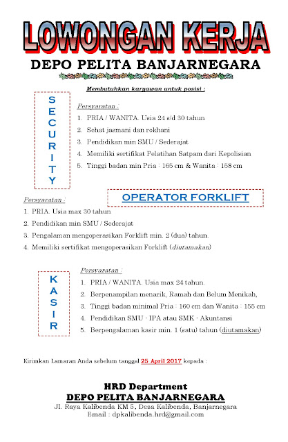 Loker Depo Pelita Banjarnegara | Loker Satria