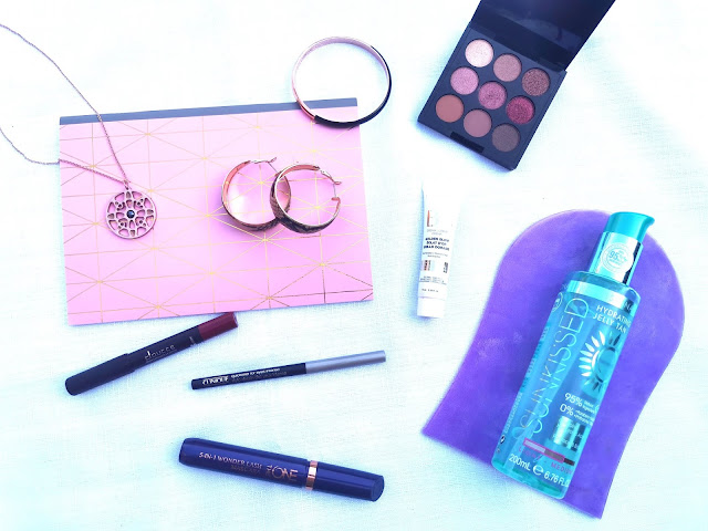 Rose gold accessories with make up and self tan