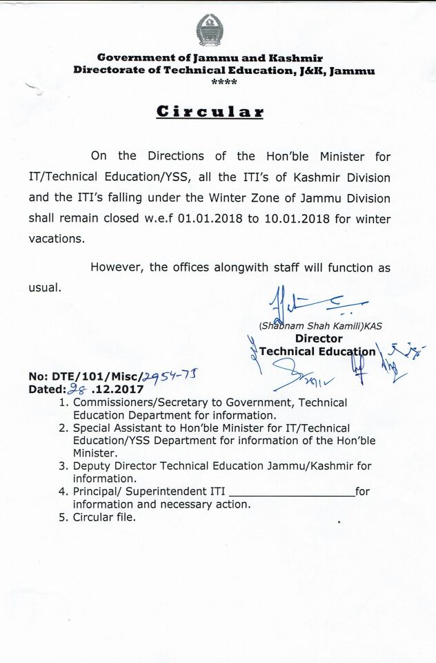 Winter vacation in govt.....w.e.f 01/01/218 to 10/01/2018