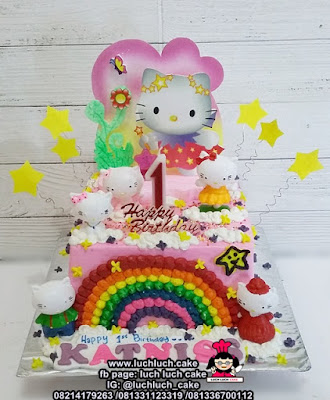 Kue Tart Pelangi Hello Kitty Buttercream