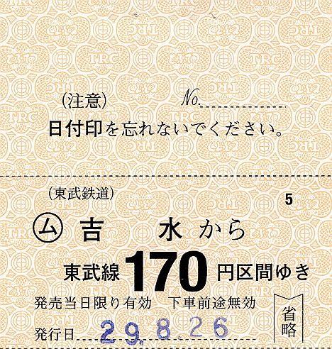 東武鉄道 常備軟券乗車券32 佐野線 吉水駅(2017年)