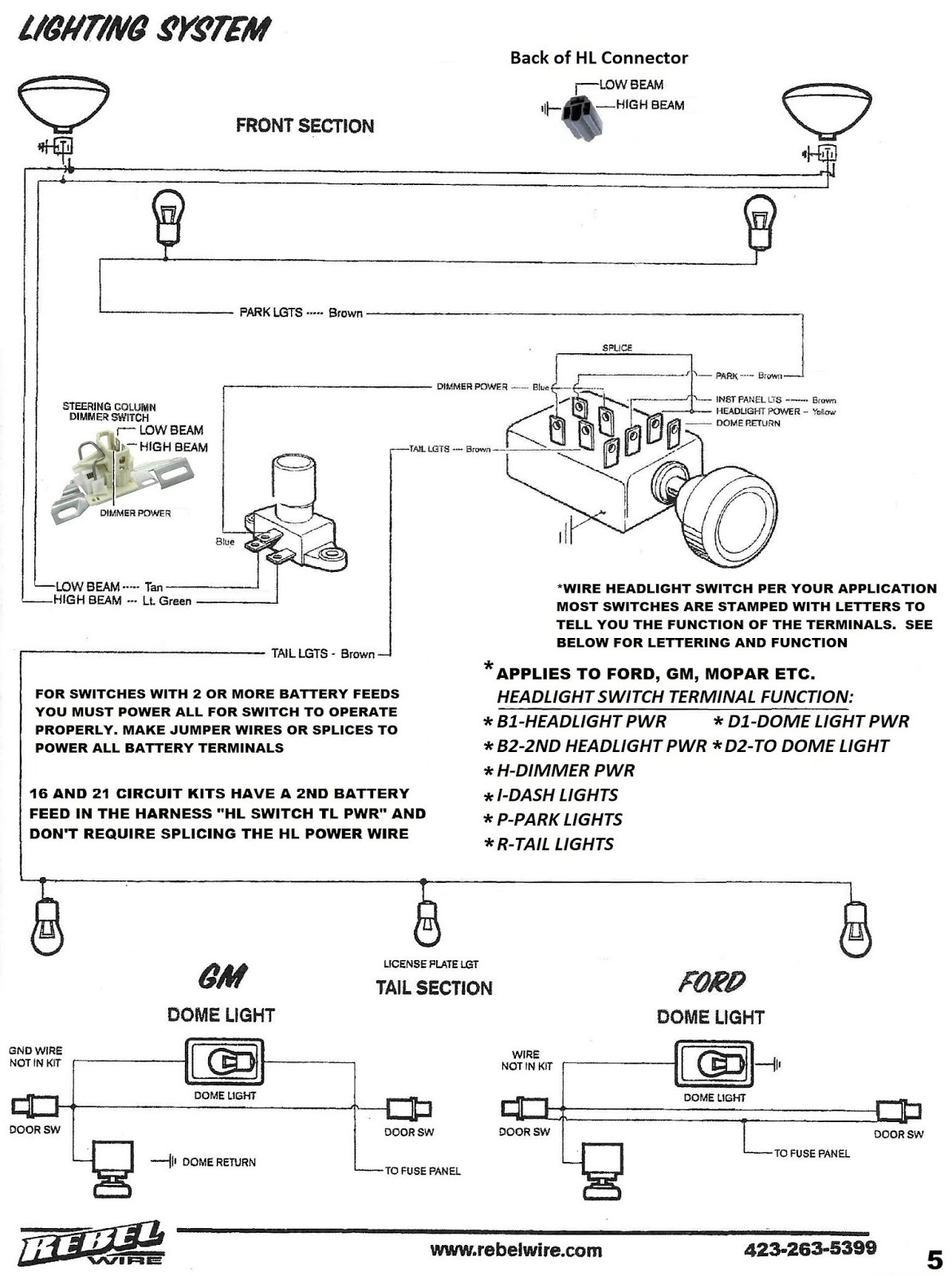 REBEL WIRE LIGHTING SYSTEM WIRING DIAGRAM