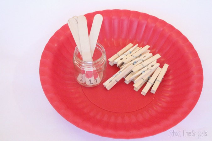 toddler counting clothespins activity