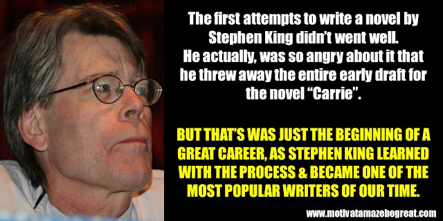 "63 Successful People Who  Failed: Stephen King, Success Story, ""Carrie"" early draft, threw away, most popular writers of our time"