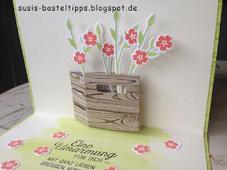 Pop Up Karte mit Stampin' Up! Framelits Holzkiste und Stempelset Glasklare Grüße