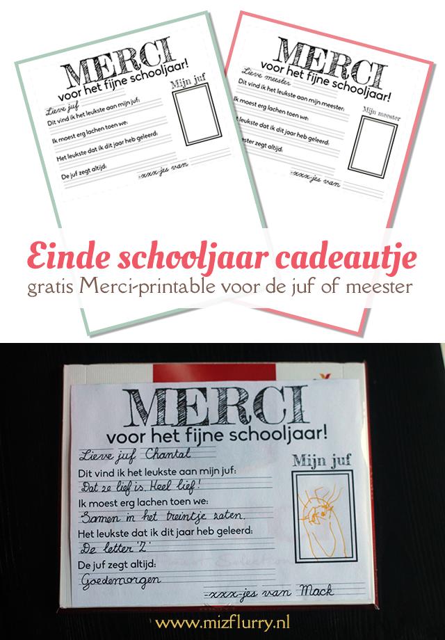 Zeer Einde schooljaar cadeautje - gratis Merci printable voor de juf of @ST34